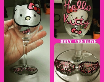Hello Kitty Inspired Wine Glass