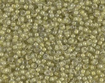 11/0 Light Olive Lined Crystal Luster #378  Miyuki Seed Beads - 10 grams