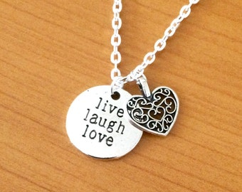 Live laugh love inspirational quote necklace, motivational quote charm necklace, silver heart necklace, quote jewellery, jewelry