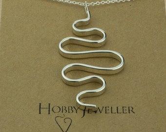 Large Folded Silver Pendant