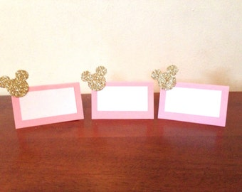 10 Pink and Gold Minnie Mouse Place Cards - Minnie Mouse Party Decorations - Minnie Mouse Birthday Party - Minnie Mouse Baby Shower - Minnie