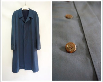GIVENCHY monsieur wool silk men long coat.Vintage French luxury metallic blue trench coat.Size large.Free shipping.Y69102