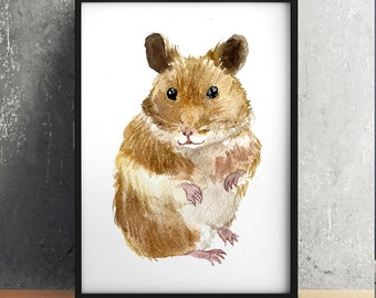 Hamster print Animal art Wildlife poster Nursery print ACW543