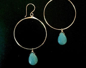 Gold hoops with turquoise stone pendants