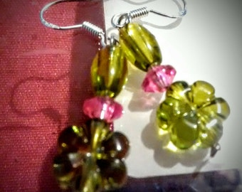 Green and pink flower earrings.