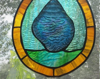 Sun Catcher stained glass with sea shell dish
