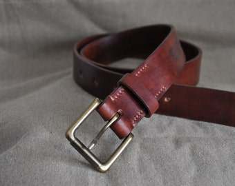 38 mm. aged vegetable tanned leather belt