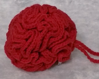 Crocheted Cotton Loofah - Red