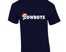 DALLAS COWBOYS Christmas T-Shirt Santa Hat  Christmas Holiday Fan Inspired Team Tee