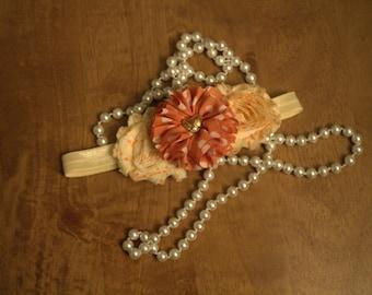 Sale~~~~Ivory and orange shabby headband