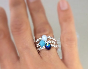 Silver stacking ring, beaded ring, glass beads, stretch ring, stacking ring, gifts for her, stacking rings
