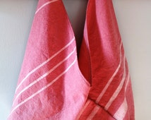 Repurposed Cotton Drop Cloth Market Bag- Coral Red with White Stripes