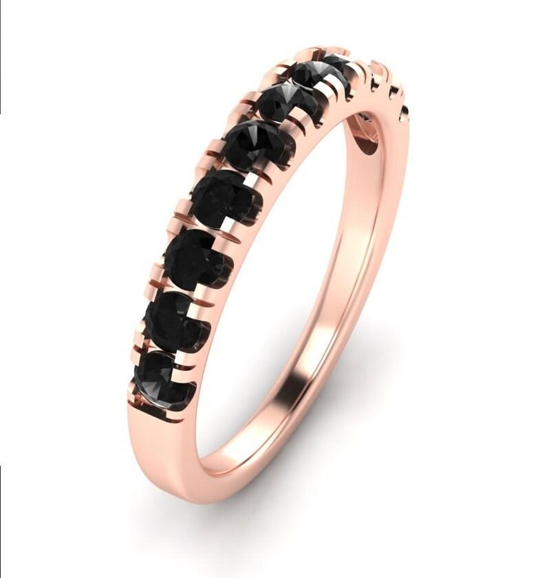 14K Rose Gold Black Diamond Wedding Band For Women 0 65 Carats