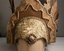 Winged Helmet- Gold and Sage Couture Headpiece with Feathered Wings