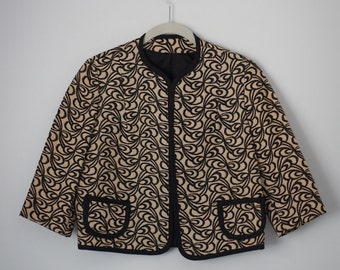 1960's Cropped Jacket, Embroidered, Taupe, Black, Jackie O