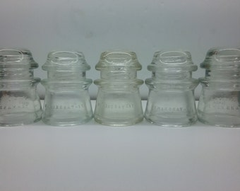 5 -  CD 122 Hemingray 17 Made In U.S.A. (numbers and dots) CB Vintage Collectible Glass Insulators in Mint Condition Flat Ship Rate