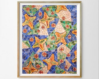 Watercolor art decor Gaudi digital art Gaudi art decor Colorful instant download Mosaic print