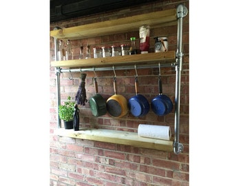 Wall Hung Industrial Style Shelving (With Rail Inset)