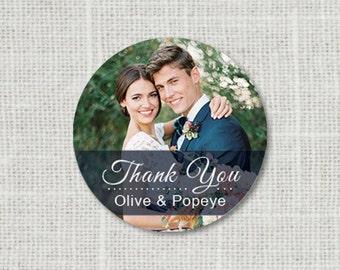 Photo Thank You Wedding Stickers - Thank You Wedding Envelope Seals, Picture Wedding Stickers