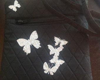 Over The Shoulder Bag - Black Quilted