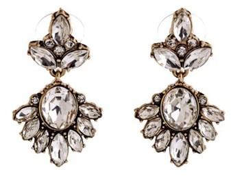 Women Gold Crystal Earrings Chandelier Earring Cluster Earring FREE SHIPPING