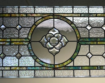 Leaded Glass Panel with Beveled Flower