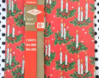 C1960's~Smart Gift Wrap~Christmas Candle Glow~1 1/2 Sheets