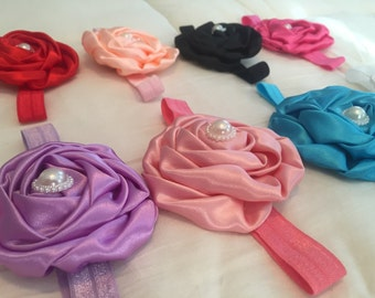 Satin flower with pearls