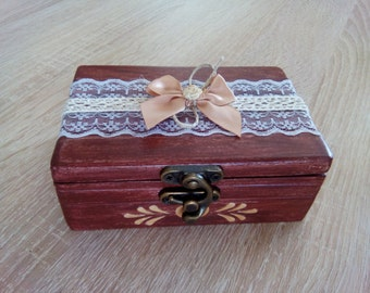 Personalized ring box, weding, rustic, hand made