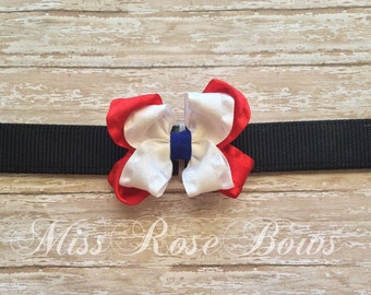 July Fourth Dog Collar Bow-Red White and Blue Dog Collar Bow-4th of July Dog Collar Bow-July the 4th Dog Collar Bow-Fourth of July Dog Bow