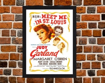 Framed Meet Me in St. Louis Judy Garland Movie / Film Poster A3 Size Mounted In Black Or White Frame