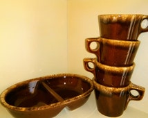 SALE Four Hull Oven Proof Mugs and Hull Divided Vegetable Dish, Hull Cups, Hull Mugs,  Hull Brown Drip Glaze