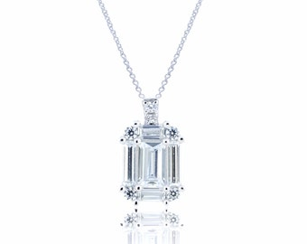 925 Sterling Silver Emerald Cut Pendant With Chain 1.18 CT.TW (S105)