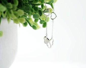 925 Sterling Silver - 5 Hearts Bracelet (S165)