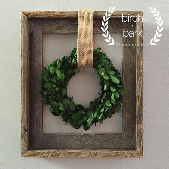 Home Decor Preserved Boxwood Wreath Wood Frame Wreath