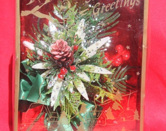 Vintage Christmas Corsage Pine Leaves Cone Holly Berries Plastic