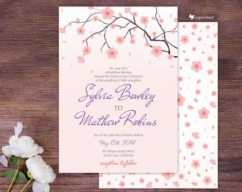 Cherry Blossoms Wedding Invitation - garden and floral, nature, seasonal, flowers, nature, cherry, blossom, falling petals, petals, template