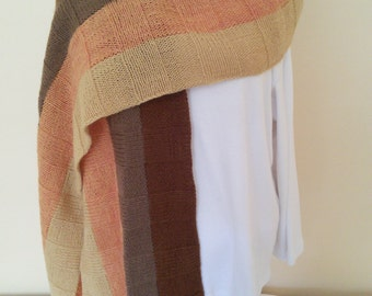 Hand Knit Wool Ribbed Wrap in Browns and Golds