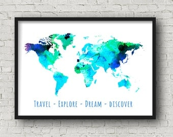 World Map Poster, World Map Art, World Map Print, Office Room Map, Printable Map of the World, Travel Poster For Boyfriend, digital download