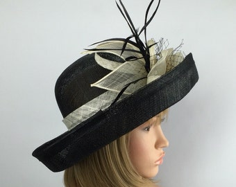 Black & Ivory Sinamay hat with flower detail for formal occasions weddings races events