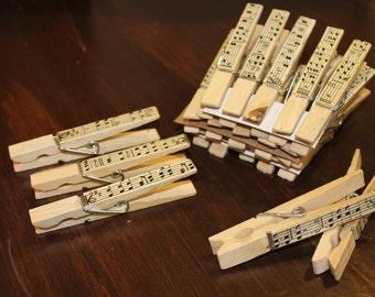 Sheet Music Clothespins, Set of 5