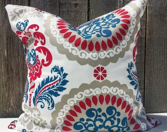 Red White and Blue Pillow Cover - Indoor/Outdoor
