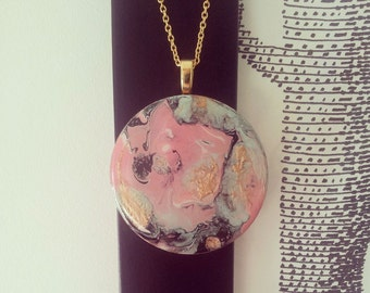 Round wood abstract pendant in Whimsical