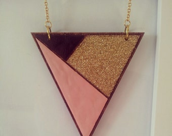 Triangle wood pendant in Lets Party