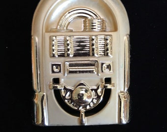 Vintage Goldtone Jukebox Brooch by AJC