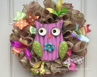 Spring Wreath, Owl Wreath, Summer Wreath, Spring Owl Mesh Wreath, Owl Deco Mesh Wreath