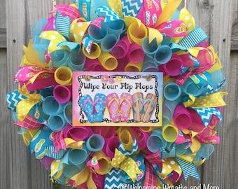 Flip Flop Wreath, Summer Wreath, Beach Wreath, Flip Flop Mesh Wreath, Wipe Your Flip Flops Wreath, Summer Deco Mesh Wreath