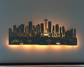 """Lighted Seattle Skyline... laser cut...48"""" dual layer"""