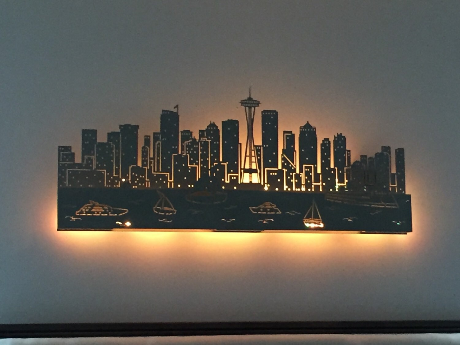 Lighted Seattle Skyline Laser Cut 48 Dual Layer