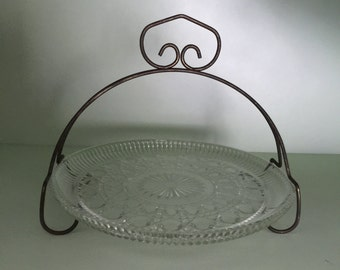 Vintage Pressed glass tidbit tray with metal frame, free shipping